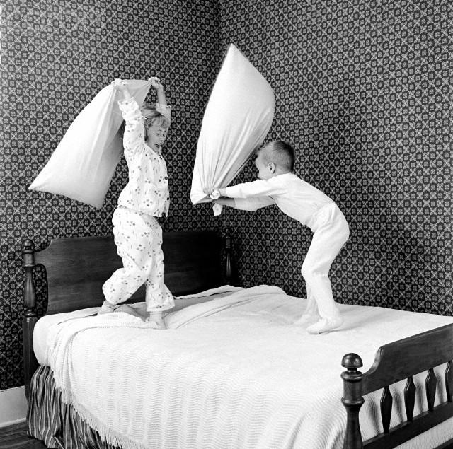 Kids Having a Pillow Fight
